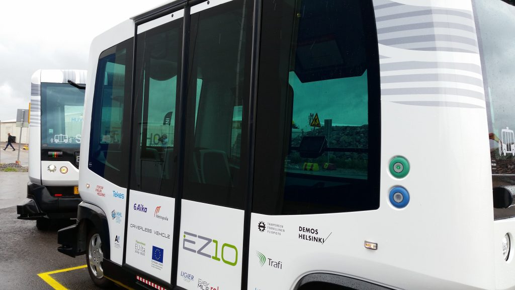 Robot buses have already started operating in Hernesaari, Helsinki